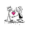 sketch doodle human stick figure couple in love vector image