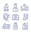 Contour simple medical icons set vector image
