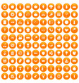 100 natural products icons set orange vector image vector image