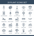 25 plant icons vector image vector image