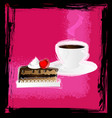 abstract pink with cup and cake vector image vector image