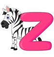 Alphabet z with zebra cartoon vector | Price: 1 Credit (USD $1)