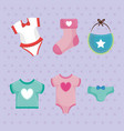 baby shower card with set icons vector image
