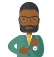 Black man is angry pointing his watch vector image