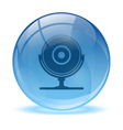 Blue abstract 3d web cam icon vector image vector image