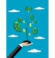 business man hand money growth investment concept vector image vector image