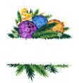 Candles and colorful Christmas balls vector image