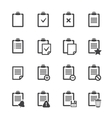 Clipboard icons over white ofice document vector image vector image