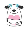 cute doodle dog hugs heart vector image vector image