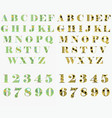 floral green and yellow letters and numbers vector image vector image