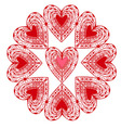 Flower graphic stylized red hearts isolated vector image vector image