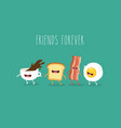 funny breakfast set comic characters vector image