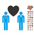 gay lovers icon with valentine bonus vector image vector image