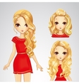 Girl In Red Dress And Collection Of Hairstyles vector image