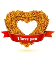 Heart of fall leaves and red ribbon banner vector image