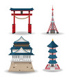 japan travel building collection set vector image vector image