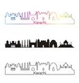 Karachi skyline linear style with rainbow vector image vector image