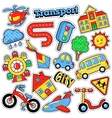 Kids Fashion Badges Patches Stickers Transport vector image vector image