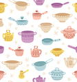 Kitchenware doodle decorated colorful seamless vector image vector image