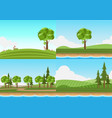landscape set of lawn with river on blue sky vector image