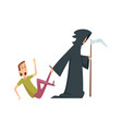 man afraid death and male character panic attack vector image