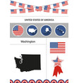 map of washington set of flat design icons vector image vector image