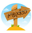 mexico wooden signpost with inscription vector image vector image