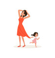 naughty daughter holding her tired mother for the vector image vector image