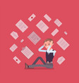 office worker and paperwork overload vector image