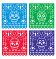 papel picado design with sugar skulls mexican vector image vector image