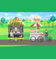 pizza and hot dog street food vector image