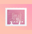 postage stamp with a picture of the city tourist vector image