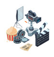 production of video isometric concept of vector image vector image