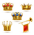 royals crowns horn realistic collection vector image vector image