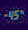 sale -45 percent banner for discount sale vector image vector image