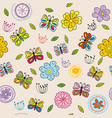 seamless pattern with doodle flowers and vector image vector image