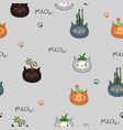 seamless pattern with indoor plants in cat pots vector image