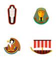 set flat design egypt travel icons vector image vector image