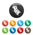 small sock icons set color vector image