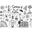 spanish traditional symbols and objects set vector image
