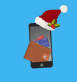 spending money from mobile on christmas vector image