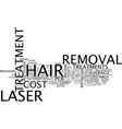 the cost of laser hair removal text background vector image vector image