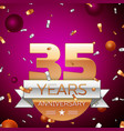 thirty five years anniversary celebration design vector image vector image
