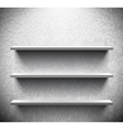 Three lightened shelves on cracked wall vector image vector image