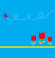 three red tulip flower set with leaf and flying vector image