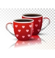 Two cups coffee on transparent vector image