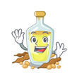 waving soybean oil in a mascot bowl vector image vector image
