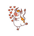 white lover bull - chinese new year symbol or logo vector image vector image