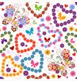 white seamless floral valentine pattern vector image vector image