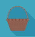 wicker basket icon in flat long shadow design vector image